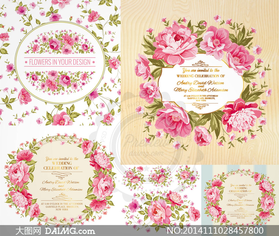 花边边框粉红色红色叶子绿叶圆形花朵花卉鲜花木纹花藤藤蔓花环背景