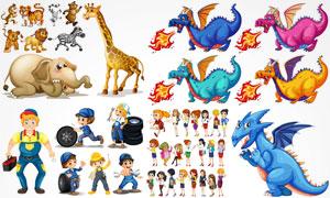 卡通长颈鹿小老虎与恐龙等矢量素材