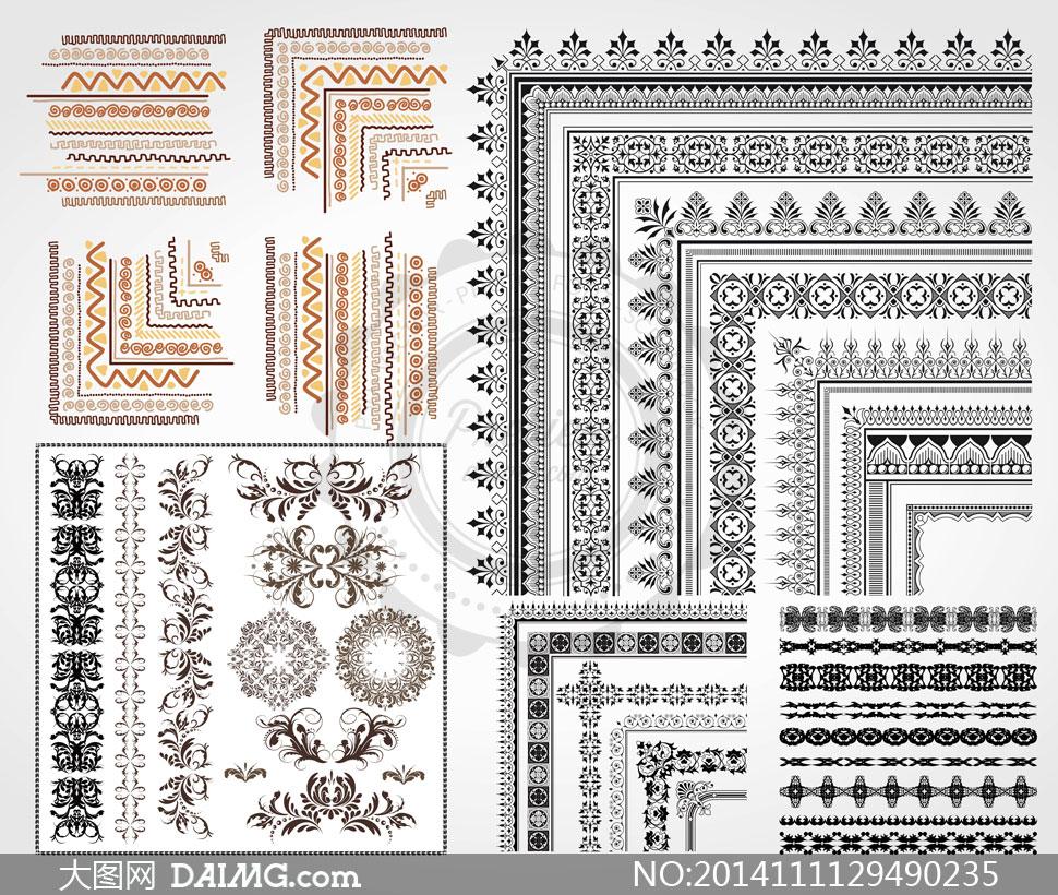 矢量素材 花纹图案 > 素材信息          复古怀旧风格的邮票等边框
