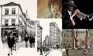 街上建筑物与音乐人物插画矢量素材