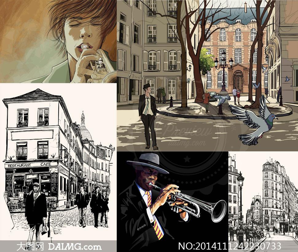 矢量素材矢量图人物手绘绘画素描黑白吹奏街角街上人群长号路灯建筑