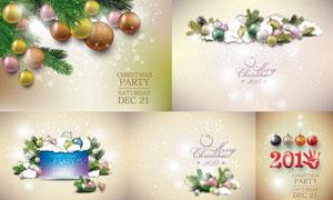 吊球与松树枝等圣诞节主题矢量素材