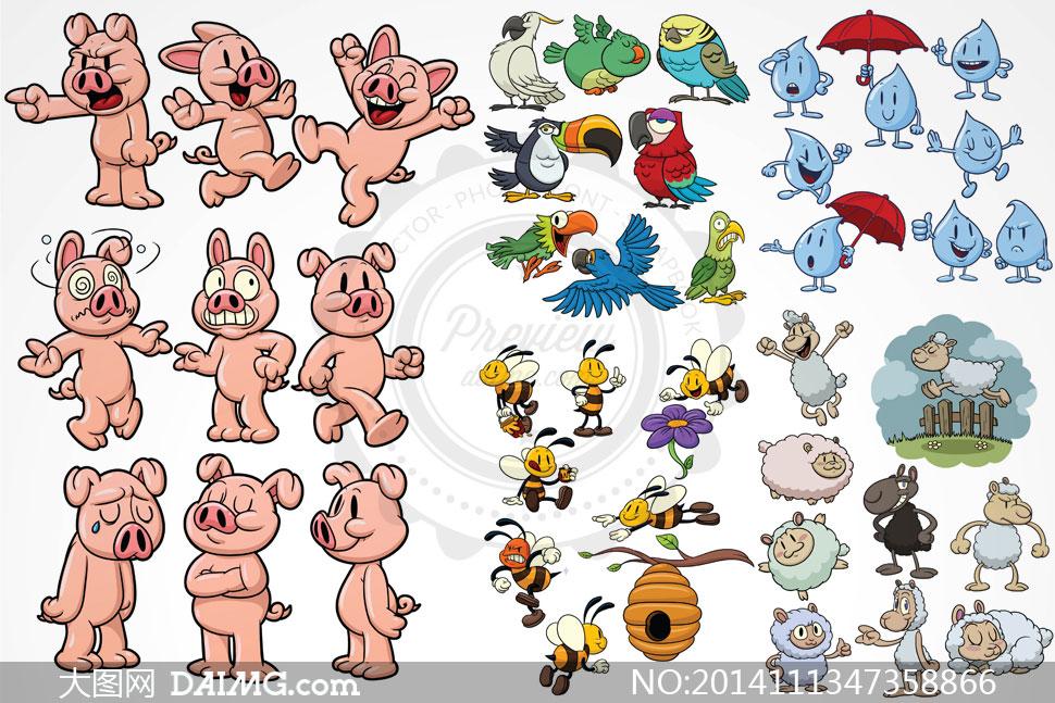 矢量绵羊与小猪动物等素材鹦鹉香蕉猴子和蜜蜂的钩法图片