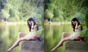 美女照片添加朦朧光效PSD調色圖層