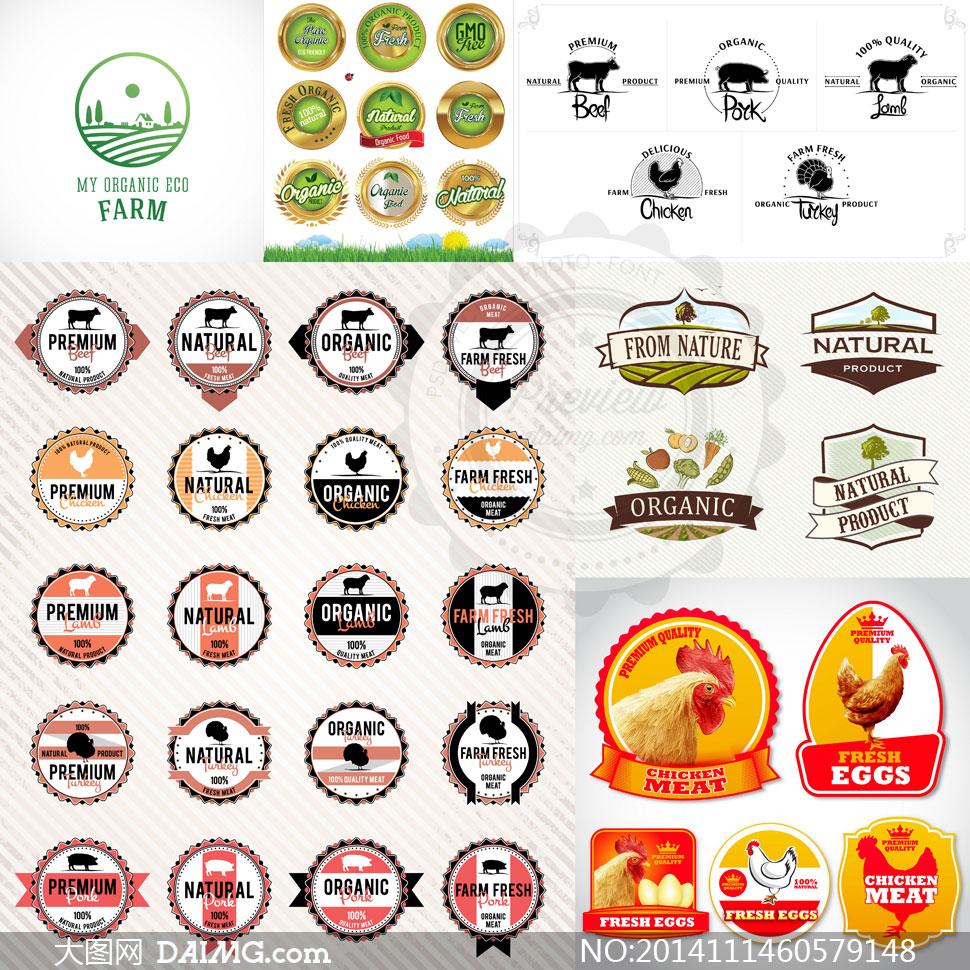 有机健康食品标签贴纸设计矢量素材