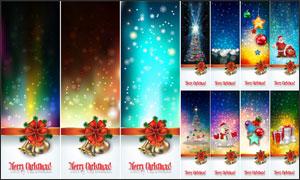 炫丽光效圣诞Banner设计矢量素材