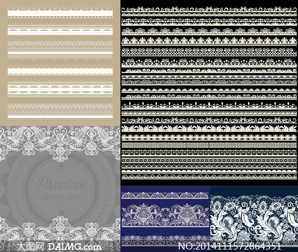镂空蕾丝花纹边框装饰图案矢量素材