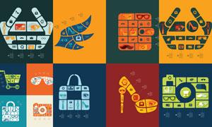 购物车与包包等信息图创意矢量素材