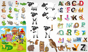 可爱小猫咪猴子等卡通动物矢量素材