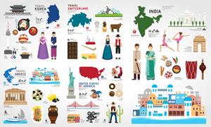 法国美国与希腊等旅游主题矢量素材