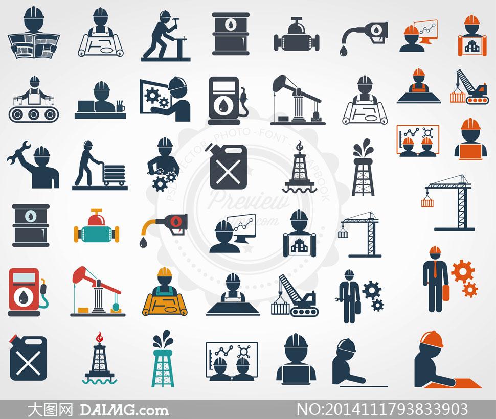 石油钻探能源主题图标设计矢量素材