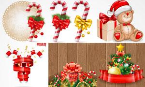 圣诞节拐棍糖与蝴蝶结节日矢量素材