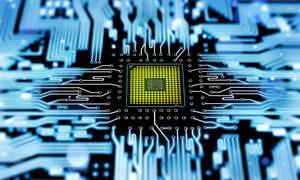 蓝色主板上的CPU插槽创意摄影图片