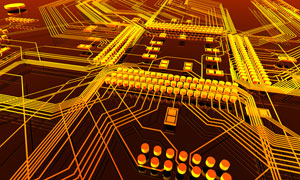 黄色的电子线路板特写创意高清图片