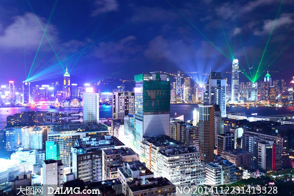 香港维多利亚港两岸建筑物高清图片