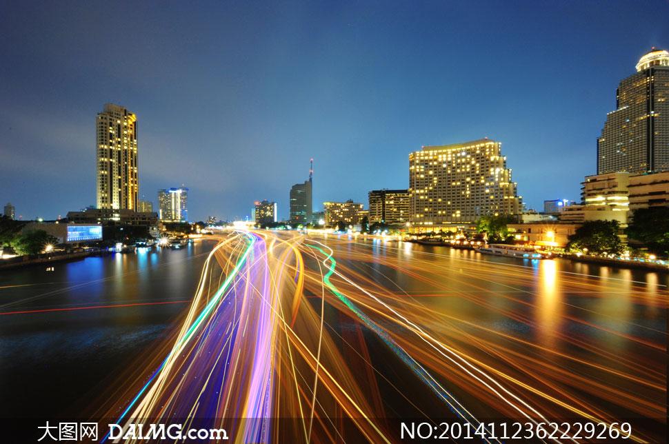 城市高楼大厦夜晚风景摄影高清图片