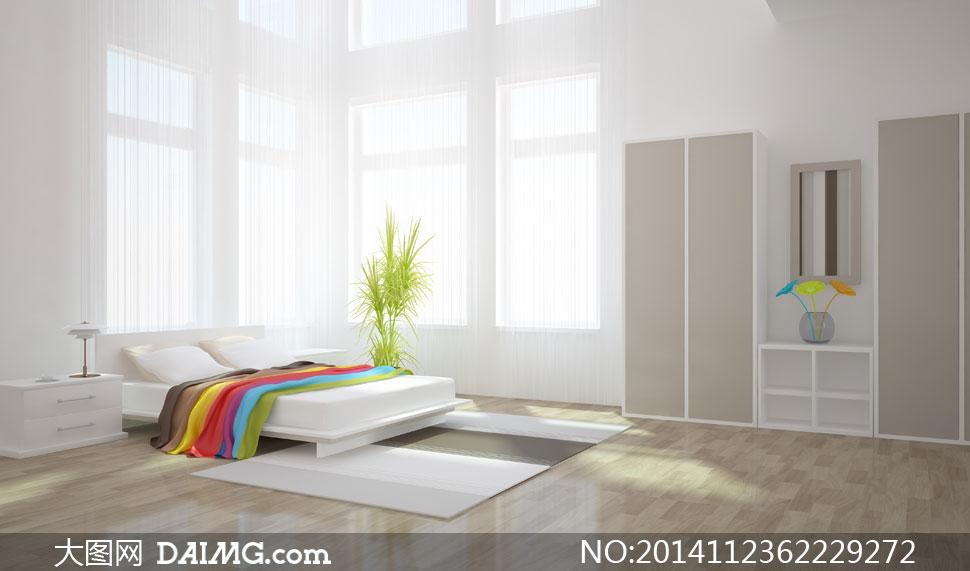 卧室内的简约装饰布置摄影高清图片 - 大图网设计素材