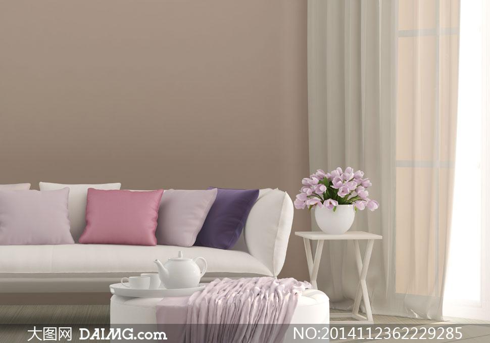 沙发枕头与插花装饰等摄影高清图片