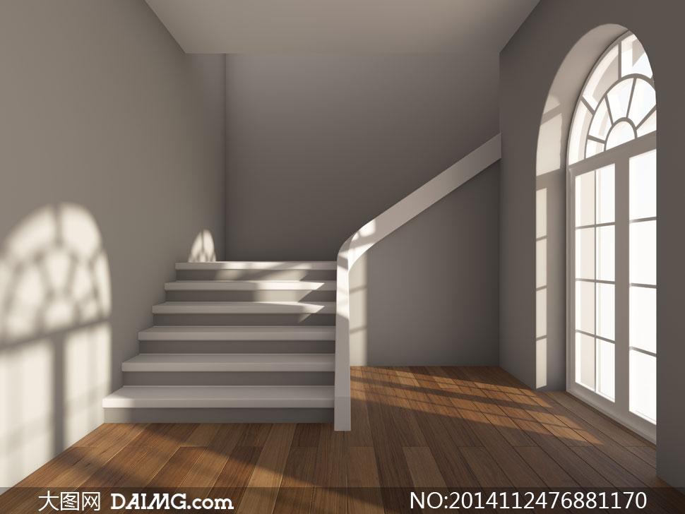 图片素材室内空间装饰家装渲染图家居效果图木地板阴影拱形门房门台阶