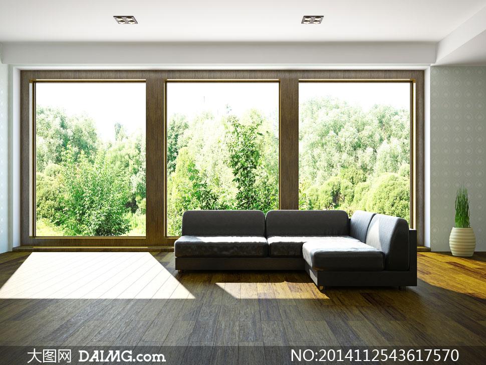 室内发与窗外的树木等摄影高清图片