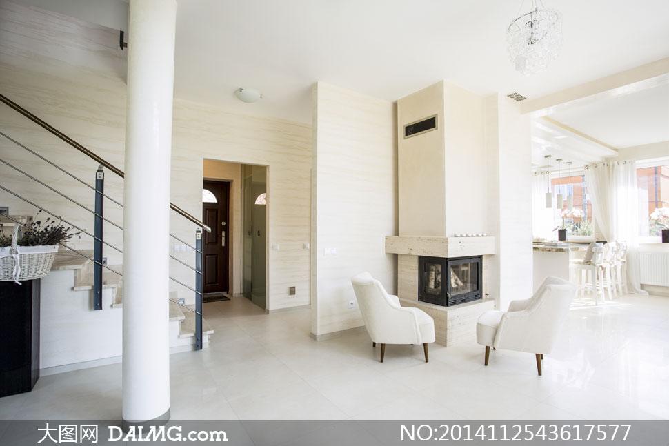 欧式别墅内景布局设置摄影高清图片