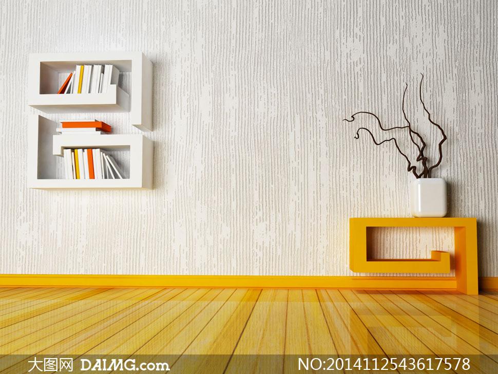 素材信息          房间沙发与墙上的书架摄影高清图片         欧式