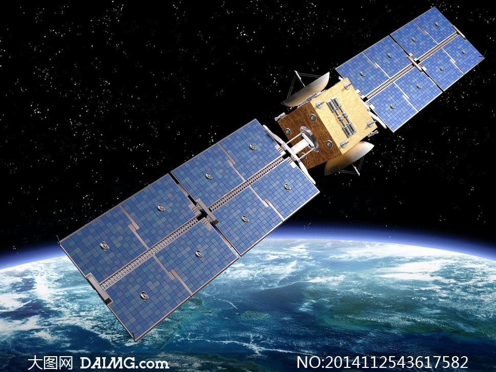运行在地球上空的卫星创意高清图片