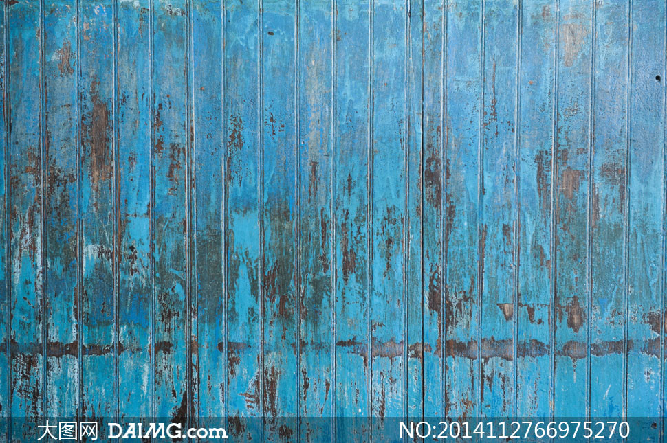 摄影大图图片素材背景木纹木板纹理材质竖向竖纹颓废斑驳破损磨损蓝色