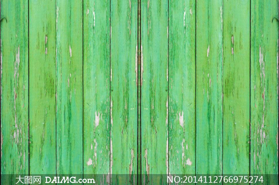 涂有绿油漆的木板斑驳效果高清