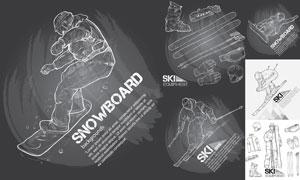 滑雪人物与滑雪装备等素描矢量素材