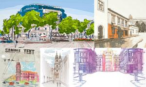 惟妙惟肖的城市建筑物绘画矢量素材
