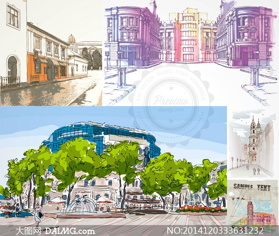 街道绘画欧洲欧式