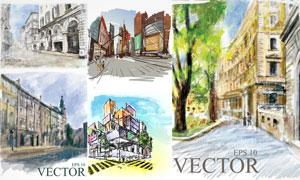 水彩手繪風格城市街道建筑矢量素材