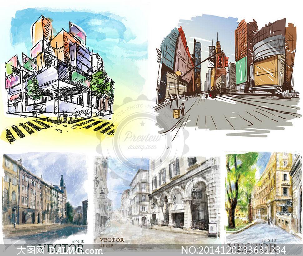 水彩手绘风格城市街道建筑矢量素材