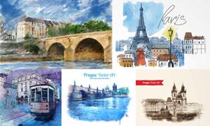 欧洲城市建筑物水彩画设计矢量素材