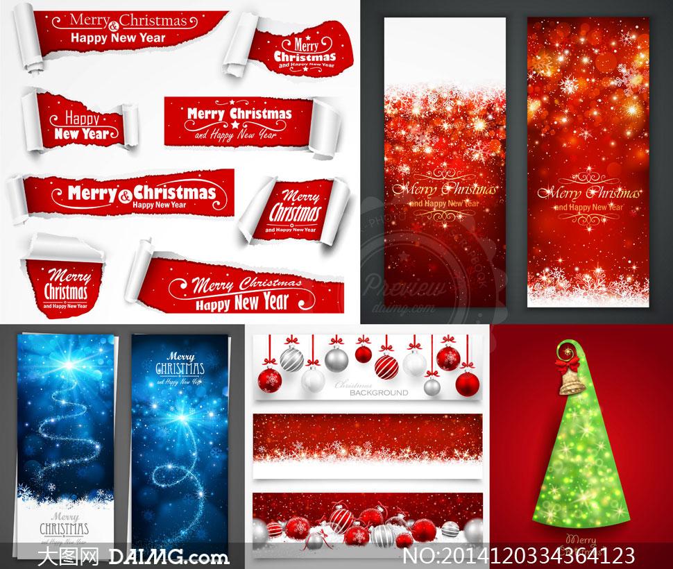 圣诞节雪花背景与撕纸效果矢量素材