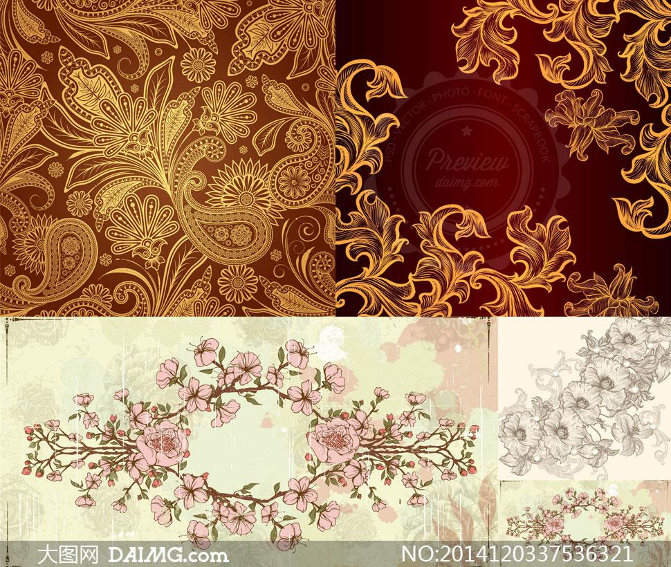 粉红色花朵与花纹装饰图案矢量素材