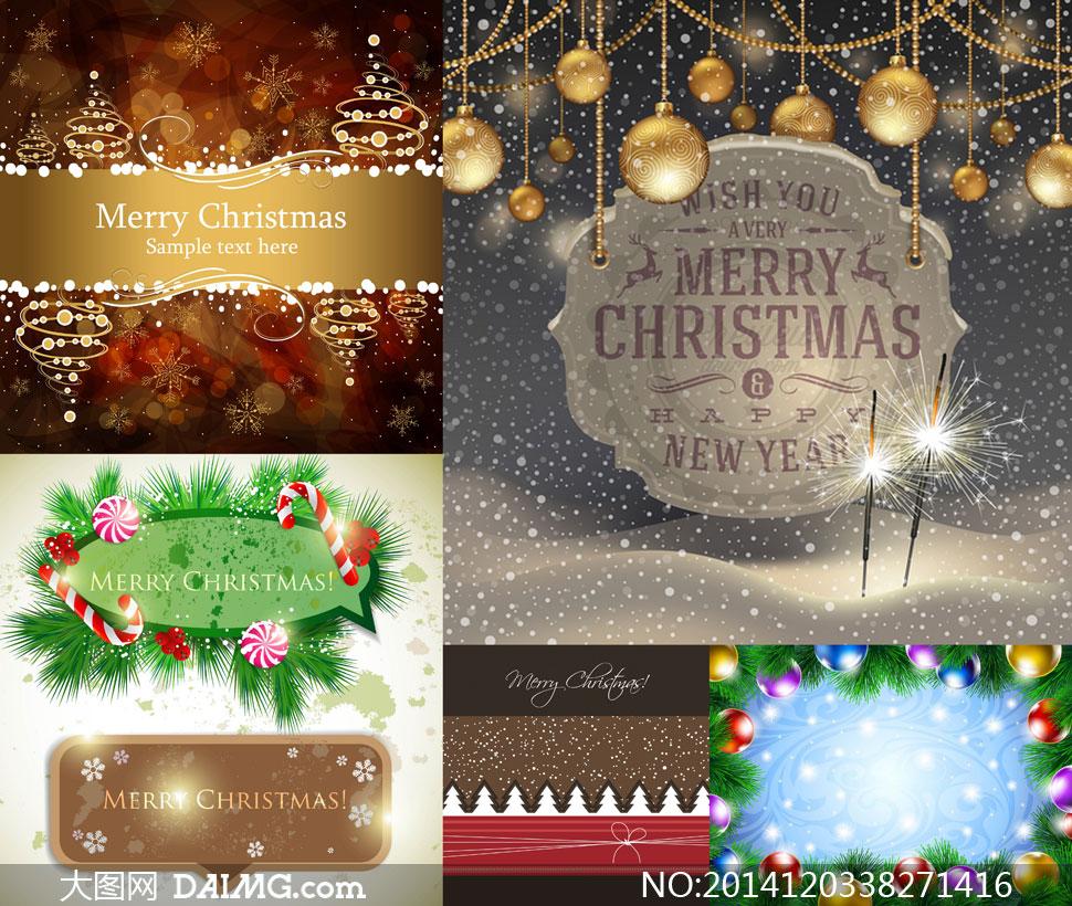 圣诞节吊球糖果雪花等创意矢量素材