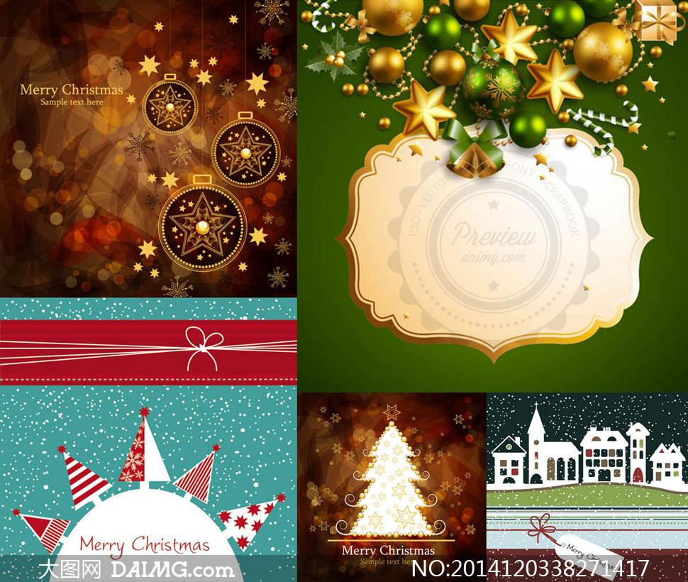 吊球雪花背景等圣诞节主题矢量素材