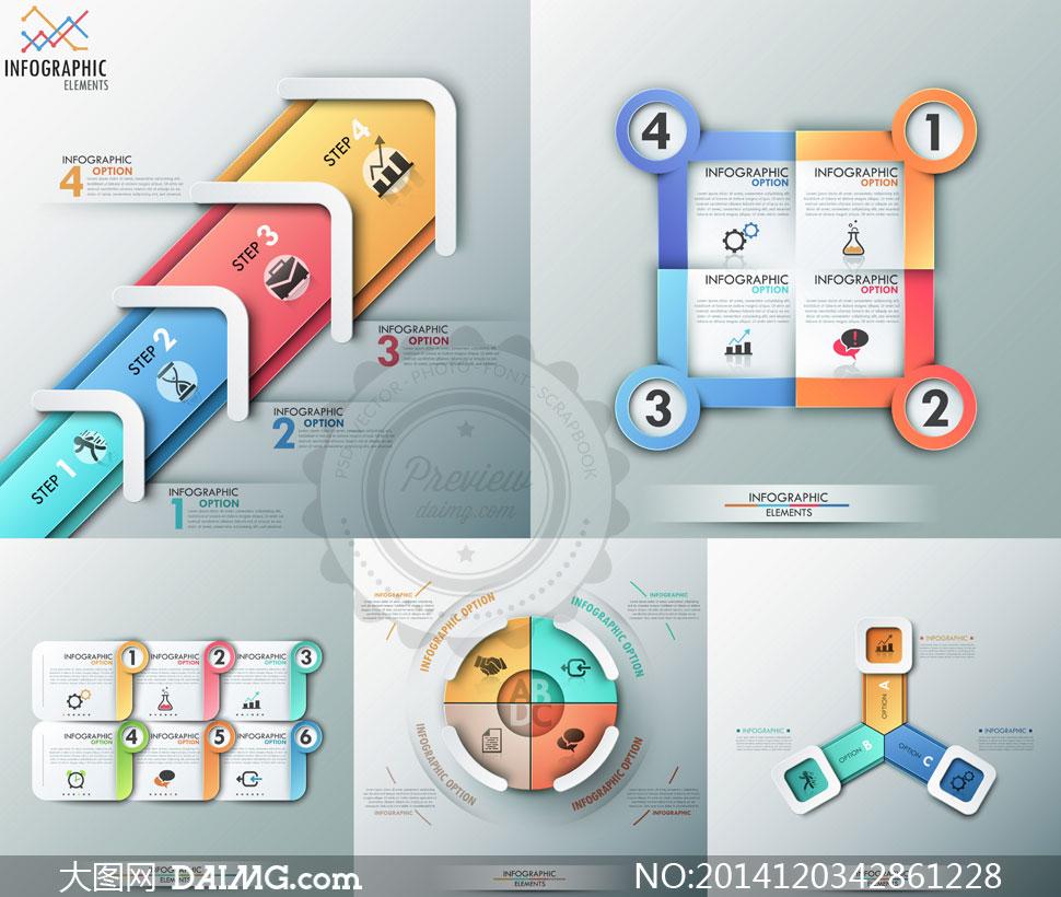 流程图信息图表潮流时尚创意设计几何立体质感圆角折痕圆形圆环环形