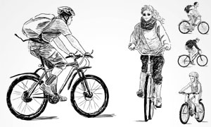 骑着自行车的人手绘素描画矢量素材图片