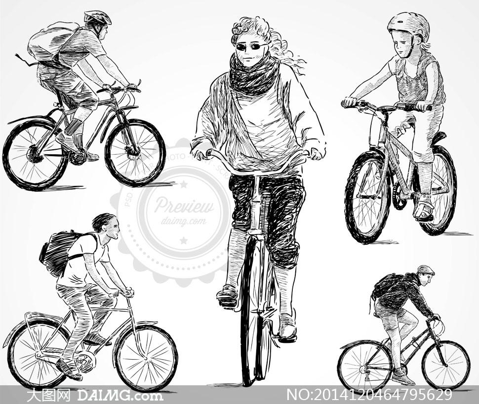 骑着自行车的人手绘素描画矢量素材