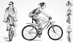 骑车的人物正面侧面素描画矢量素材