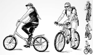 骑着单车的手绘素描画设计矢量素材图片
