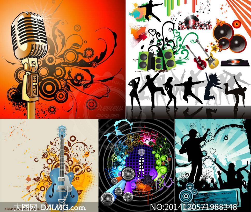 麦克风花纹与音乐人物创意矢量素材