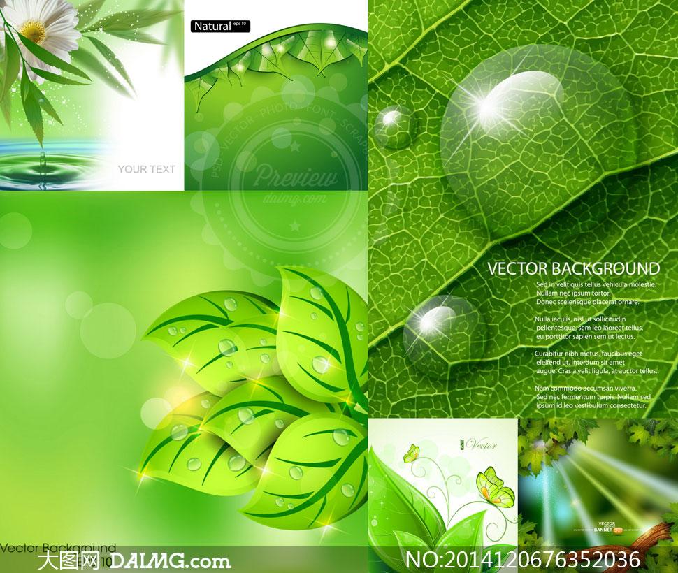 逼真质感效果春天绿色树叶矢量素材