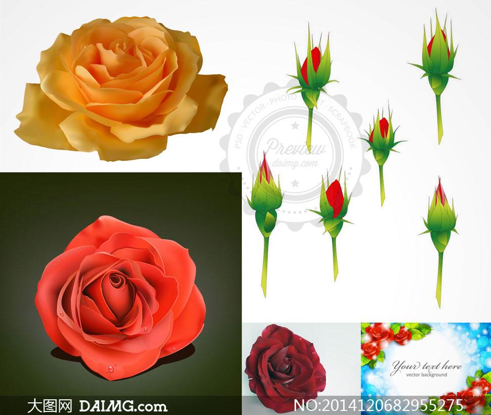 红色玫瑰花与梦幻散景背景矢量素材