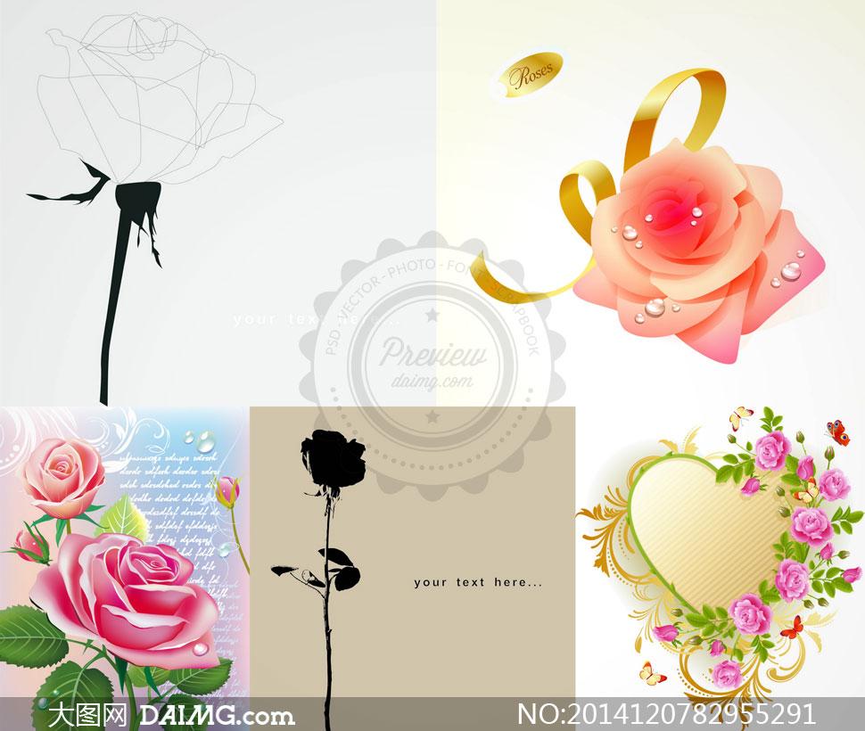鲜艳玫瑰花朵边框创意设计矢量素材图片