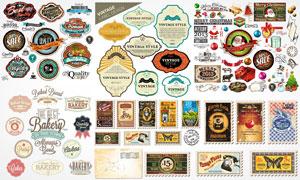 复古怀旧颓废风格标签邮票矢量素材