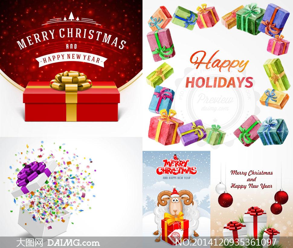 圣诞节挂球与礼物盒等主题矢量素材